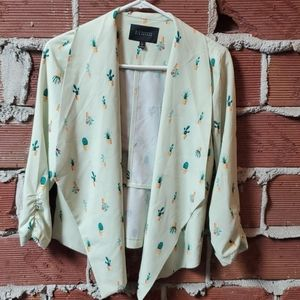 Modcloth Blu Pepper cactus print blazer, NWOT